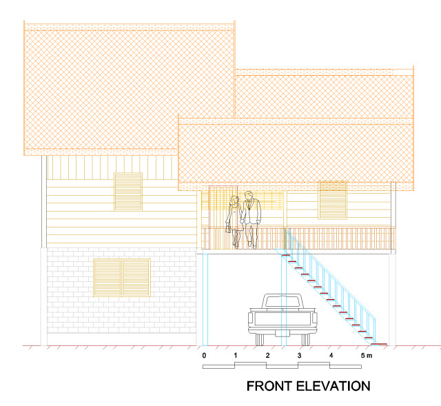 Image of My CAD Drawing Pakchong House Front View